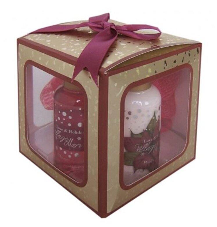 Village Cosmetics - Set cutiuta cadou Magic (Gel de dus 50 ml, lotiune de corp 50 ml, buretel) - Incolor