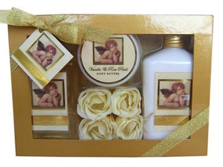 Village Cosmetics - Set cadou, mare, Classic Angel (gel de dus 240 ml, lotiune de corp 240 ml, unt de corp 50 ml si petale de sapun 4 bucati) - Incolor