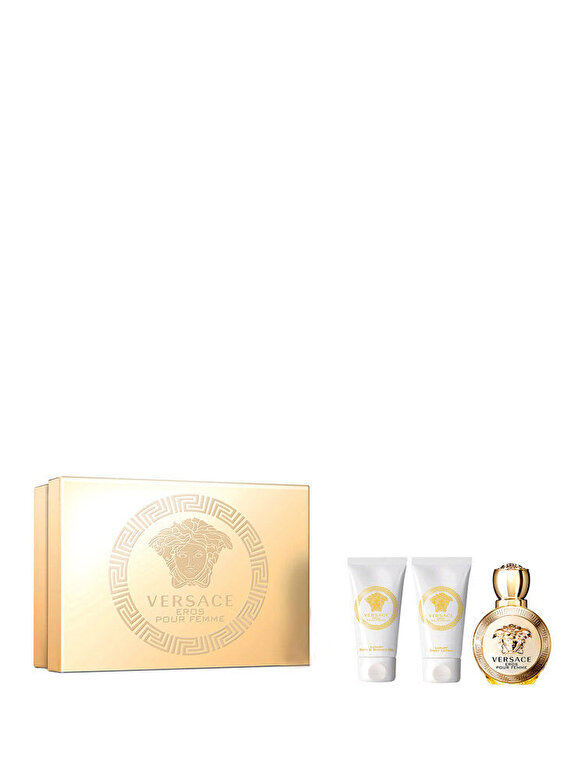 Versace - Set cadou Eros (Apa de Parfum 50 ml + Gel de dus 50 ml + Lotiune de corp 50 ml), Pentru Femei - Incolor