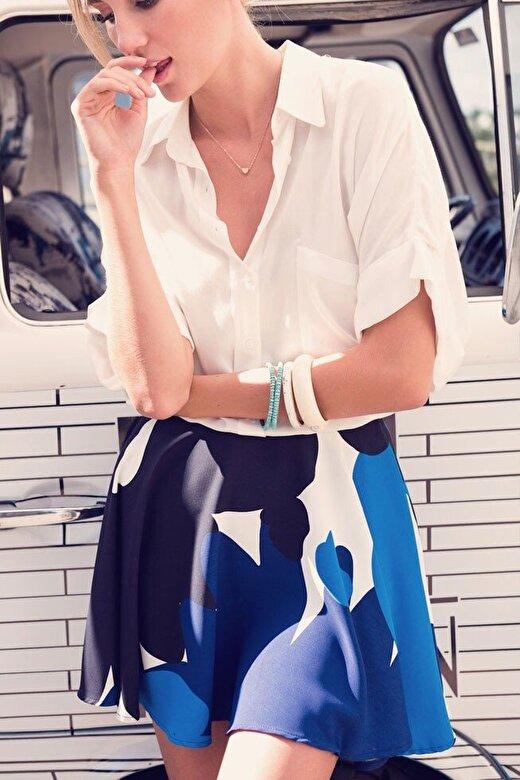 BSL Fashion - Fusta BSL-7548 - Albastru-alb