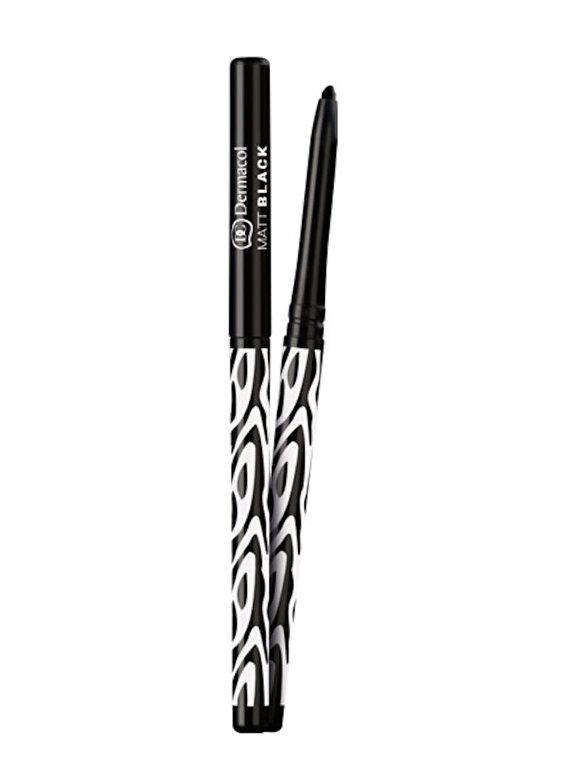 Dermacol - Creion de ochi automat rezistent la apa, nuanta Matt Black, 440 ml - Incolor