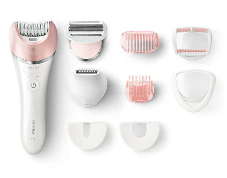 Philips - Epilator Philips Satinelle Advanced Wet & Dry BRE640/00, 32 Puncte de prindere, 2 viteze, Acumulator, Alb - Alb