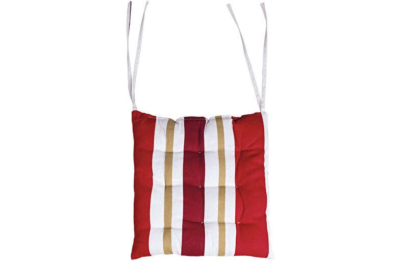 Heinner - Perna de scaun, Heinner, HR-CPAD-RED01, 38x40x5 cm, 100% bumbac - Rosu-alb