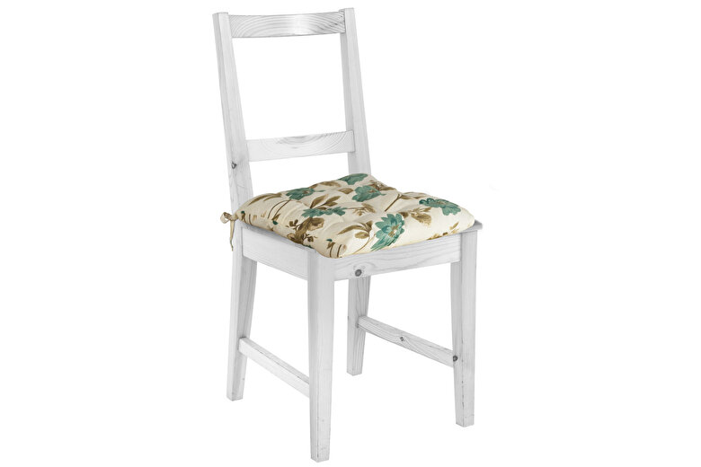 Heinner - Perna de scaun, Heinner, HR-CPAD-FLWB, 38x40x5 cm, 100% bumbac - Bej