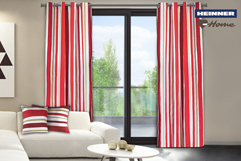 Heinner - Set 2 draperii decorative, Heinner, HR-DR140-RED01, 140x270 cm, 100% bumbac - Rosu-alb