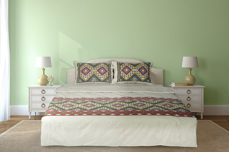 Heinner - Lenjerie de pat pentru doua persoane, Heinner, HR-4BED-TRD02, bumbac - Galben-verde-rosu