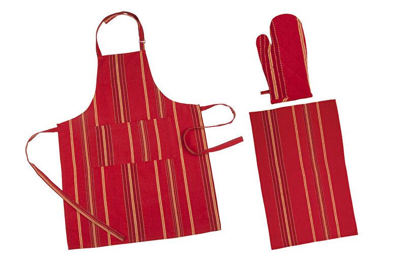Heinner - Set bucatarie 3 piese (sort bucatarie - 70 x 90 cm + prosop bucatarie 45 x 70 cm + manusa bucatarie 18x30 cm), Heinner, HR-KS3-RED01, 100% bumbac - Rosu