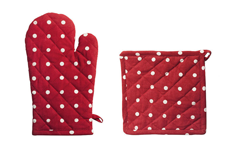 Heinner - Set bucatarie 2 piese (manusa de bucatarie 18x30 cm + suport oala 20x20 cm), Heinner, HR-KS2-RED01, 100% bumbac - Rosu