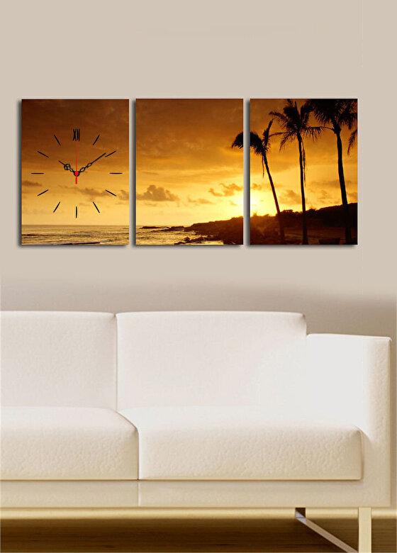 Clock Art - Tablou decorativ canvas cu ceas (3 Piese)Clock Art - Multicolor