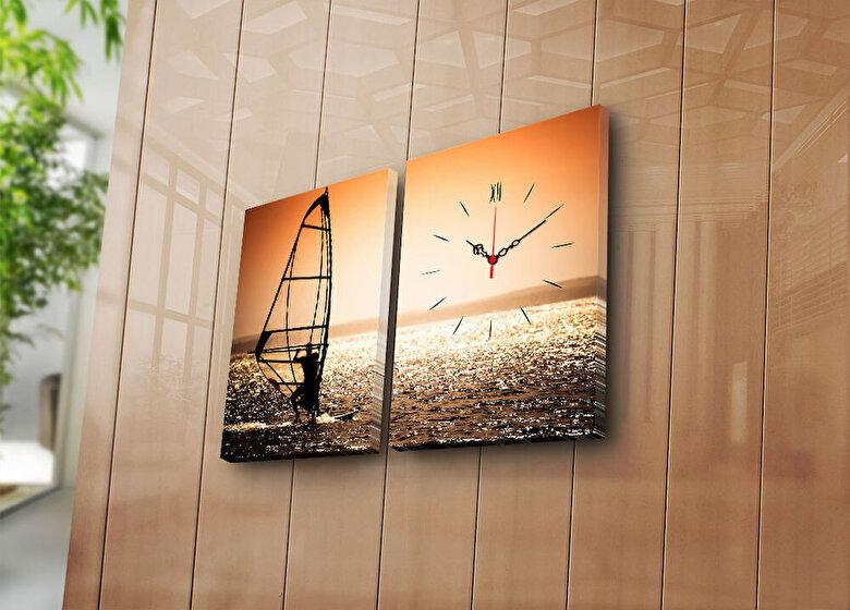Clock Art - Tablou decorativ canvas cu ceas (2 Piese)Clock Art - Multicolor