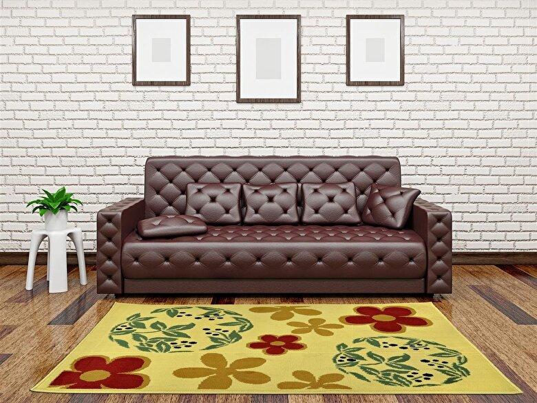 Decorino - Covor Decorino, Floral, polipropilena, C-030204, 67x120 cm, Bej - Bej