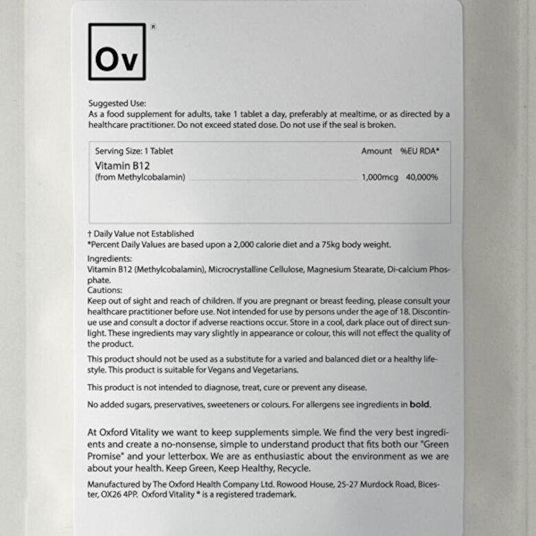 Oxford Vitality - Vitamina B12 (Methylcobalamin) - 1000 mcg (120 Tablete) - Incolor