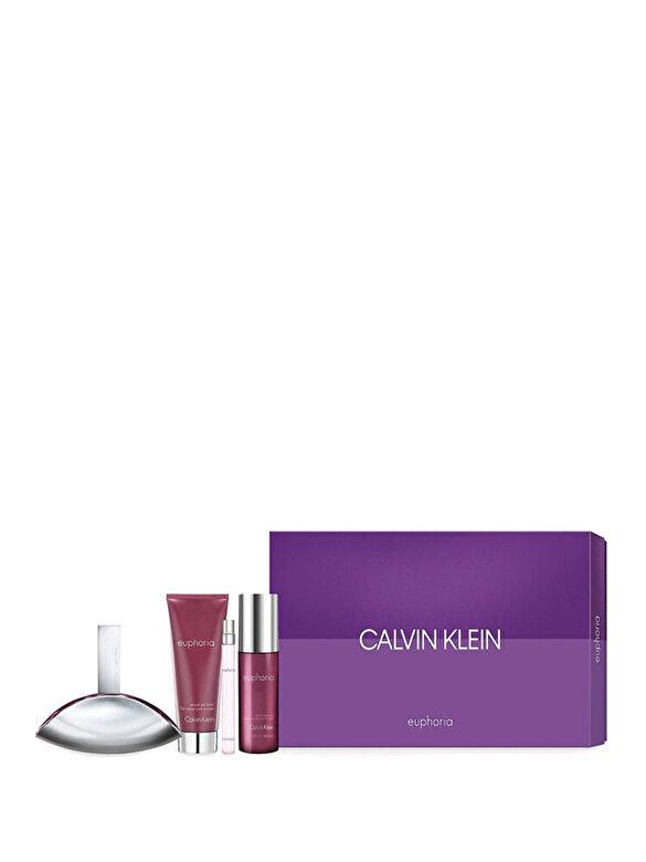 Calvin Klein - Set cadou Calvin Klein Euphoria (Apa de parfum 100 ml + Apa de parfum 10 ml + Lapte de corp 100 ml + Spray de corp 150 ml), Pentru Femei - Incolor