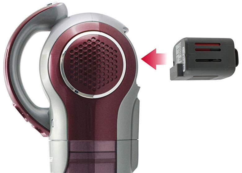 Trisa - Aspirator Trisa Quick Clean Professional 9478.83, putere de aspirare 380W, acumulator Li-Ion, autonomie 30min, Culoare Visiniu - Visina putreda