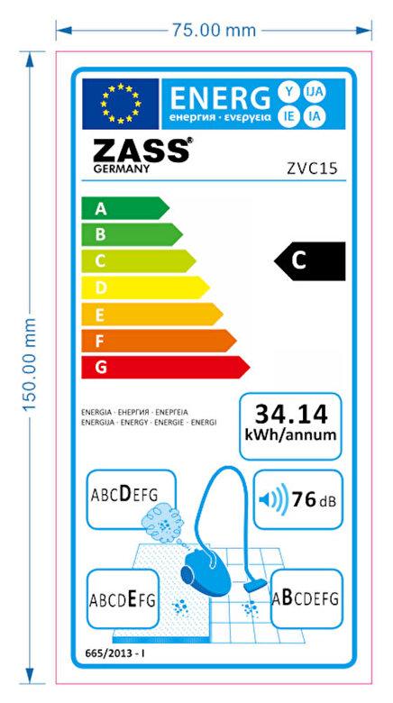Zass - Aspirator cyclonic Zass ZVC 15, Culoare Argintiu, 1000W, 2,2L, Filtru Hepa, Clasa C - Albastru