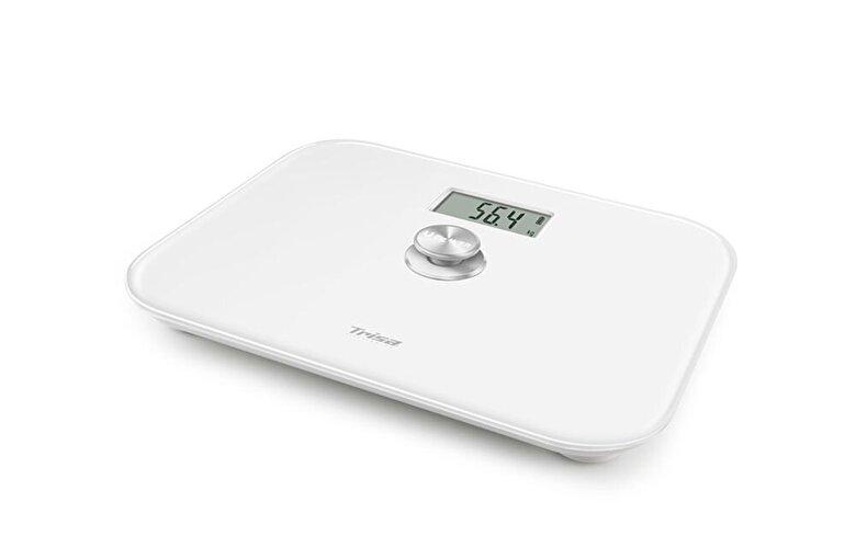 Trisa - Cantar electronic de persoane pe baza de dinam, nu necesita baterii, max 150Kg, display LCD - Alb