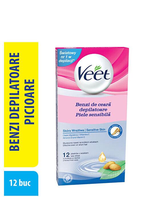Veet - Benzi ceara rece Veet Vitamina E si Ulei de Migdale pentru piele sensibila 12 benzi - Incolor