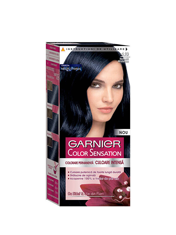 Garnier Color Sensation - Vopsea de par permanenta cu amoniac Color Sensation cu pigmenti intensi 4.10 Hematit Misterios, 110 ml - Incolor