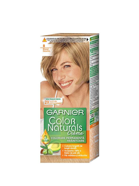 Garnier Color Naturals - Vopsea de par permanenta cu amoniac Color Naturals 8 Blond Deschis, 110 ml - Incolor