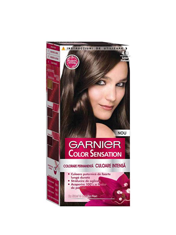 Garnier Color Sensation - Vopsea de par permanenta cu amoniac Color Sensation cu pigmenti intensi 4.0 Saten Profund, 110 ml - Incolor