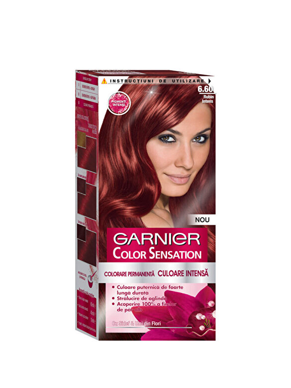 Garnier Color Sensation - Vopsea de par permanenta cu amoniac Color Sensation cu pigmenti intensi 6.60 Rubin Intens, 110 ml - Incolor