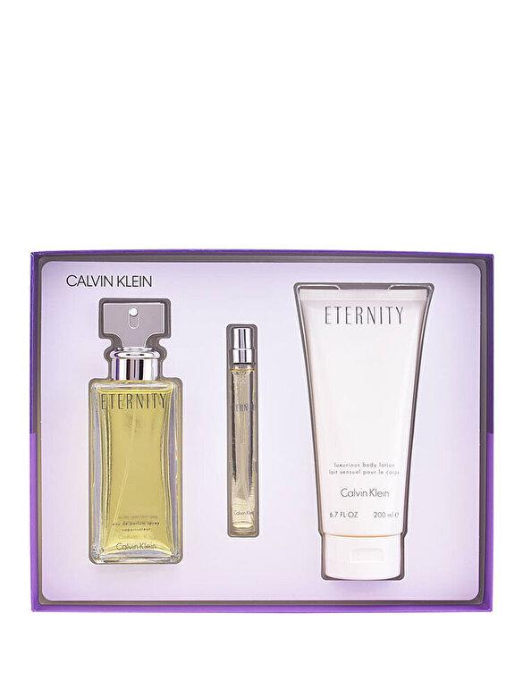 Calvin Klein - Set cadou Calvin Klein Eternity (Apa de parfum 100 ml + Lotiune de corp 200 ml+ Apa de parfum miniatura 10 ml), Pentru Femei - Incolor