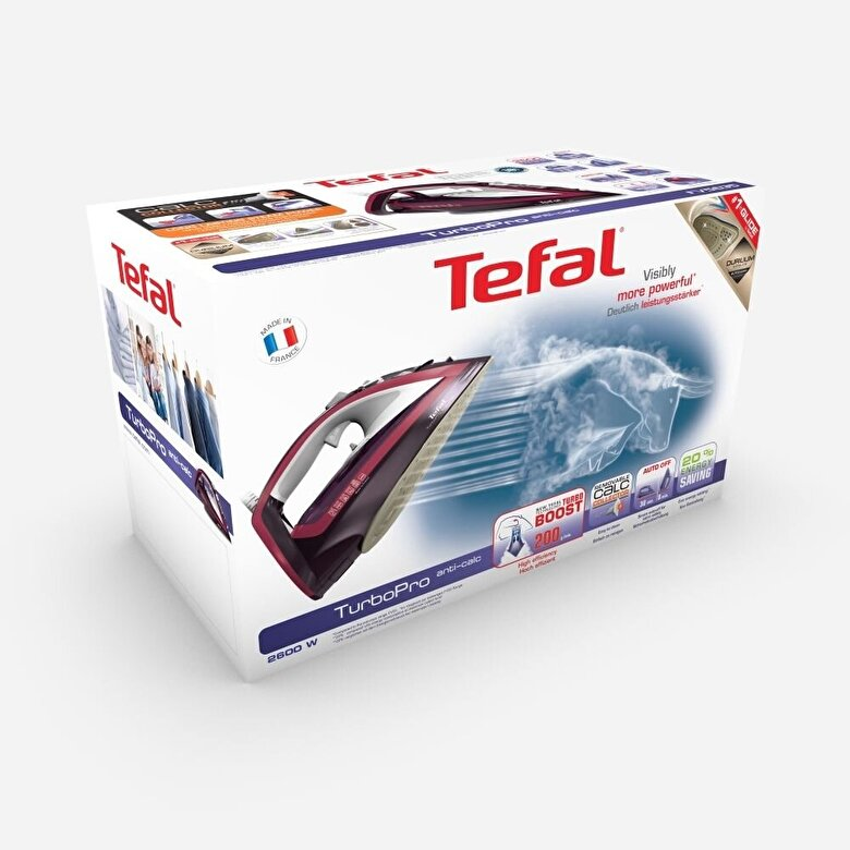 Tefal - Fier de calcat Tefal Turbo Pro Anti-Calc FV5635E0, 2600 W, 200 g/min, 300 ml, rosu - Rosu