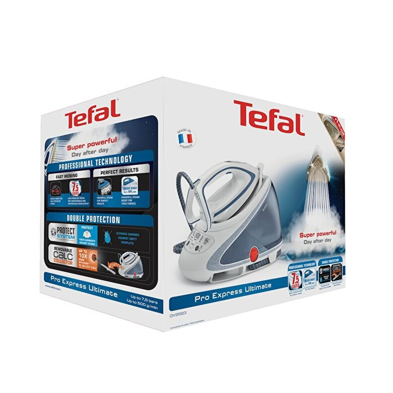Tefal - Statie de calcat Tefal Pro Express Ultimate GV9563E0, presiune abur 7,5 bar , 500 g/min, 1,9 L, albastru - Albastru