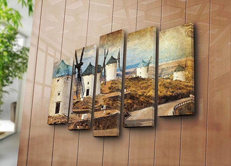 Horizon - Tablou decorativ pe panza Horizon, 237HRZ4260, 5 Piese, panza - Multicolor