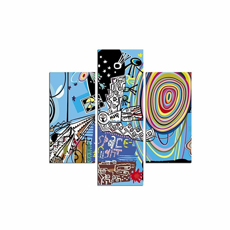 Three Art - Tablou decorativ Multicanvas Three Art, 251TRE1901, 3 Piese, MDF - Multicolor