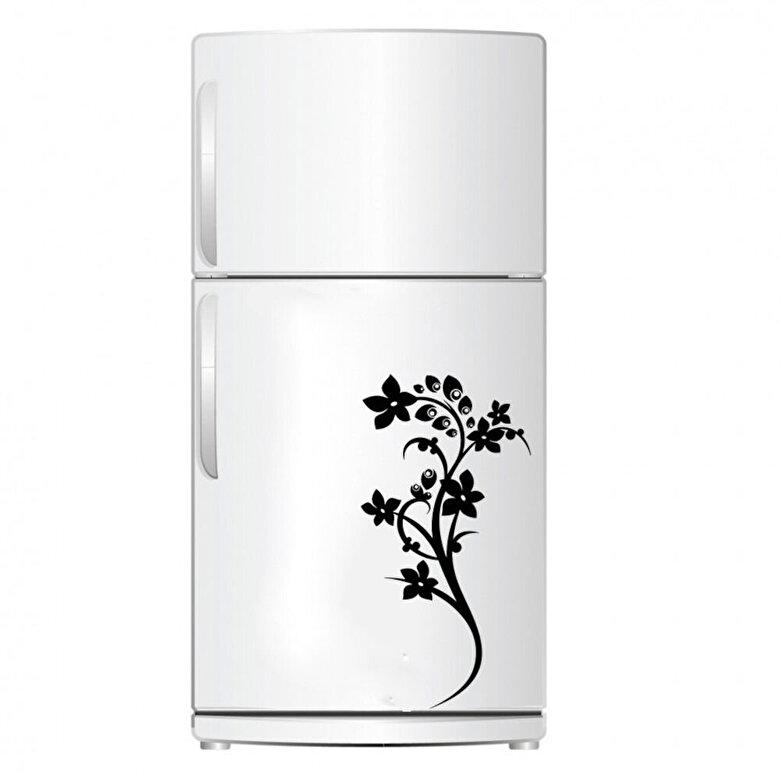 Pushy - Sticker decorativ pentru frigider Pushy, 246PHY1406, 25 x 49 cm - Negru