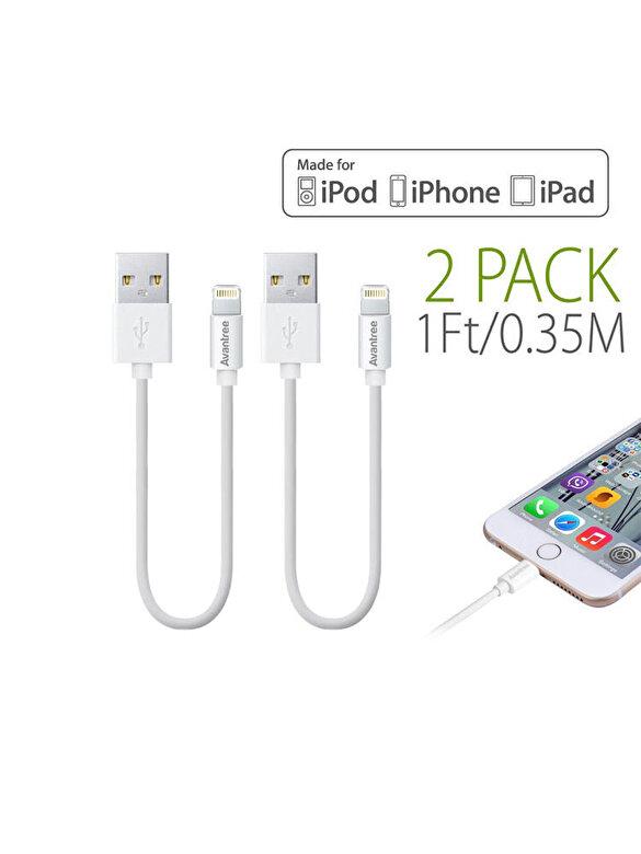 Avantree - Set 2x ablu de date Lightning USB Avantree, CGUS-SET-12-WHT, pentru iPhone 8, iPhone 8 Plus, iPhone x, alb - Alb
