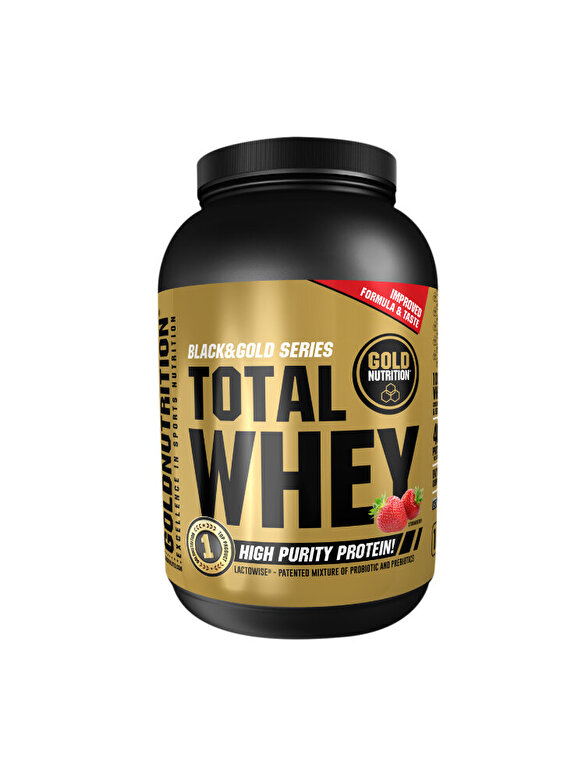 GoldNutrition - Pudra proteica, GoldNutrition, TOTAL WHEY PROTEIN CAPSUNI, 1KG - Incolor