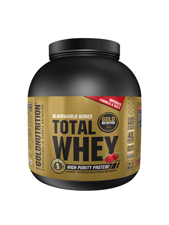 GoldNutrition - Pudra proteica, GoldNutrition, TOTAL WHEY PROTEIN CAPSUNI, 2KG - Incolor