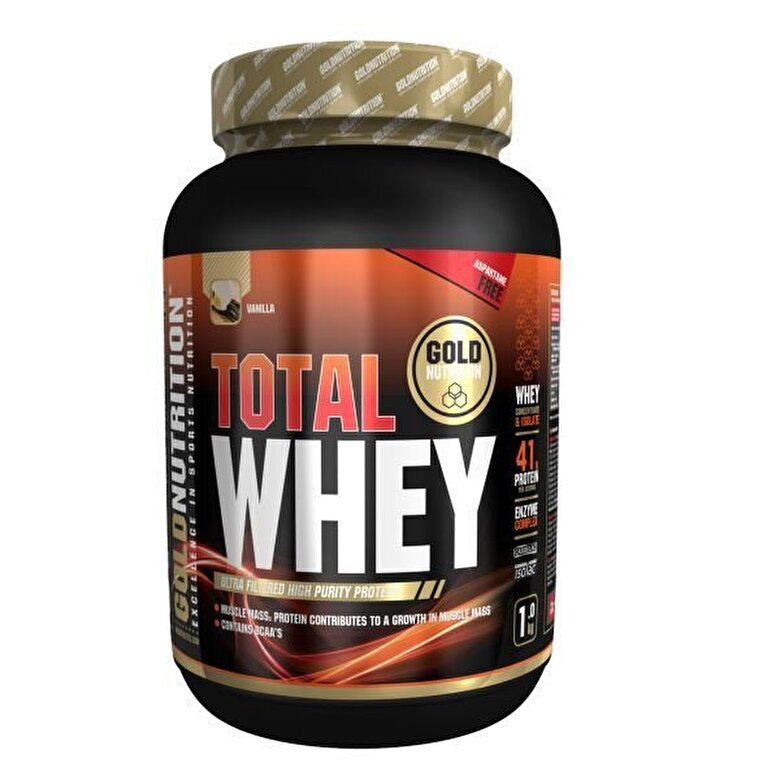 GoldNutrition - Pudra proteica, GoldNutrition, TOTAL WHEY PROTEIN VANILIE, 1KG - Incolor