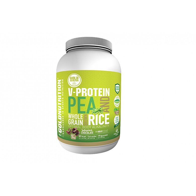 GoldNutrition - Pudra proteica vegetala, GoldNutrition, aroma ciocolata, 1 KG - Incolor