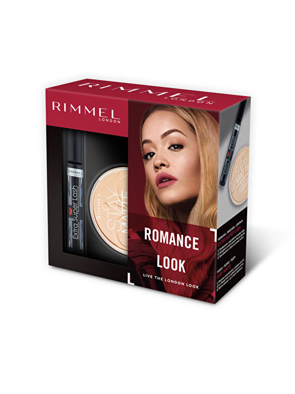 Rimmel - Set cadou Rimmel: Mascara Extra Super Lash, 8 ml + Pudra Stay Matte, 001 Transparent, 14 g - Incolor