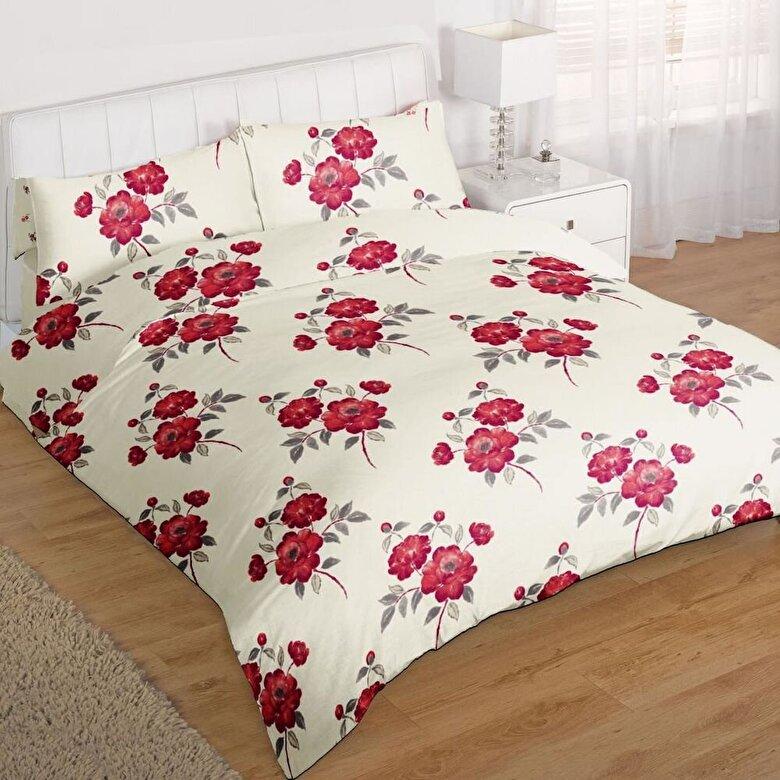 Heinner - Lenjerie de pat dubla Heinner VN-4BEDYX60-ROSE, 4 piese, din microfibra, alb - Alb