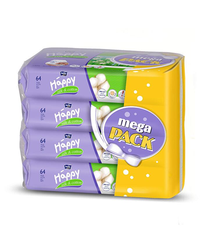 Happy - Servetele umede Happy Silk Cotton -4 pachete, 256 bucati - Incolor