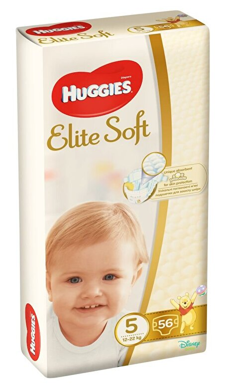 Huggies - Scutece Huggies elite soft Mega 5, 12-22kg, 56 buc - Multicolor