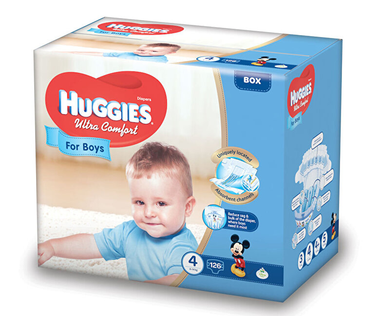 Huggies - Scutece Huggies ultra confort boy 4, 8-14kg, 126 buc - Multicolor