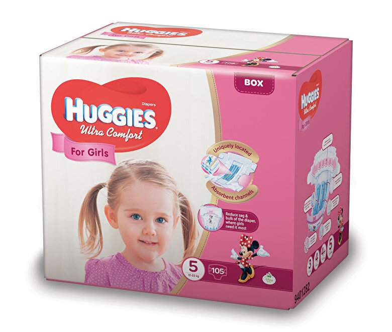 Huggies - Scutece Huggies ultra confort girl 5, 12-22kg, 105 buc - Multicolor