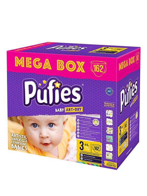 Pufies - Scutece Pufies Baby Art Mega box, 3 midi, 162 buc - Multicolor