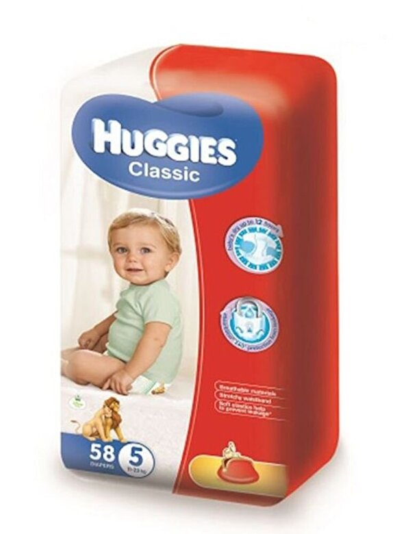 Huggies - Scutece Huggies Classic Mega 5, 11-25 kg, 58 buc - Incolor