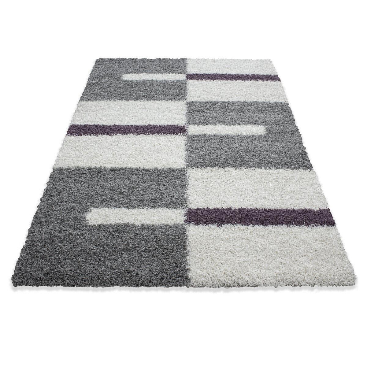 Covor Decorino Kenya, modern & geometric,shaggy, polipropilena, C04-203505, 80 x 150 cm, Alb