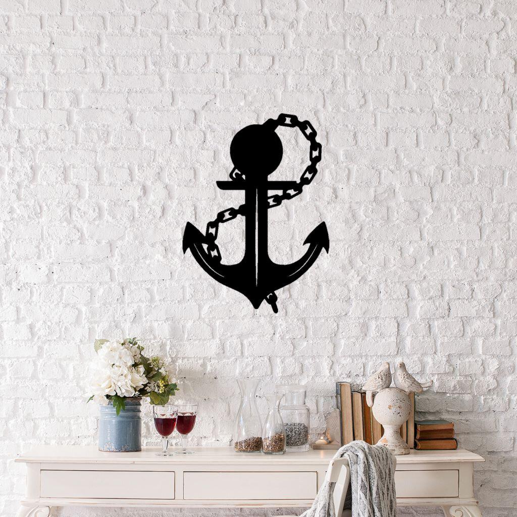 Decoratiune pentru perete, Ocean, metal 100%, 42 x 58 cm, 874OCN1007, Negru