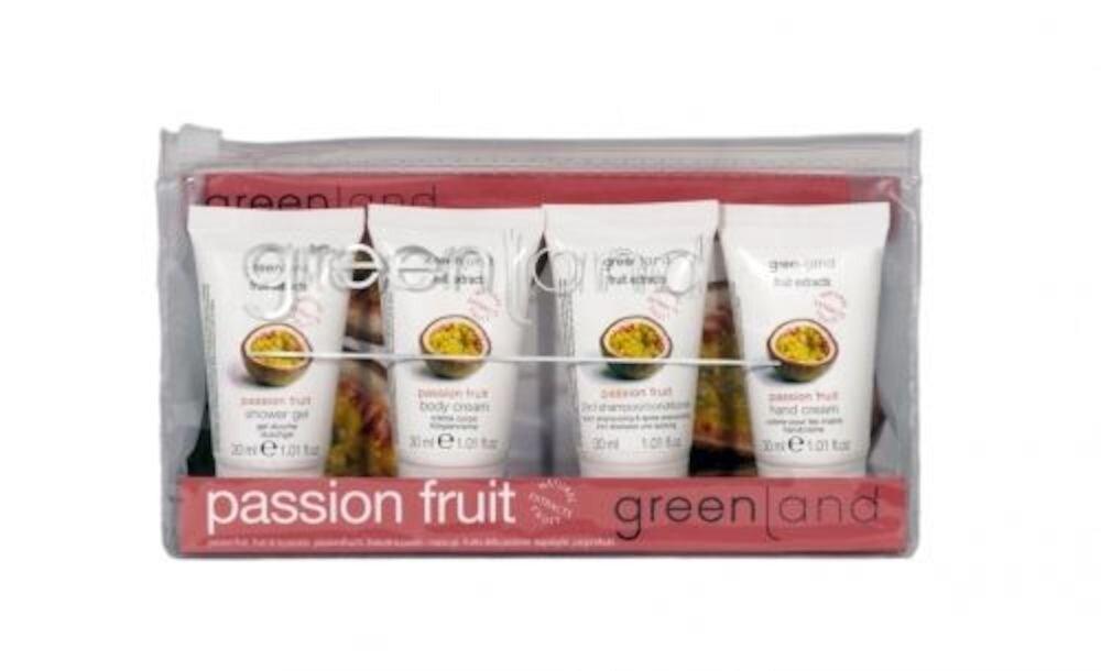 Imagine indisponibila pentru Set ingrijire corp, cu fructul pasiunii, Greenland (crema de corp 30 ml, gel de dus 30 ml, sampon si balsam de par 2 in 1 la 30 ml si crema de maini cu fructul pasiunii 30 ml)