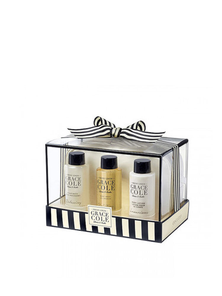 Pachet promotional Grace Cole Fresh Linen Bath (Spuma de baie+Gel de dus+Lotiune de corp+Borseta)