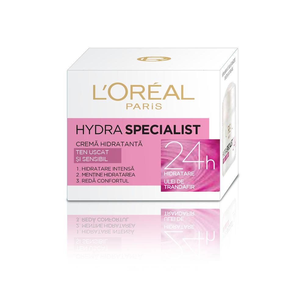 Crema hidratanta pentru fata L'Oreal Paris Hydra Specialist pentru tenul uscat si sensibil 50 ml