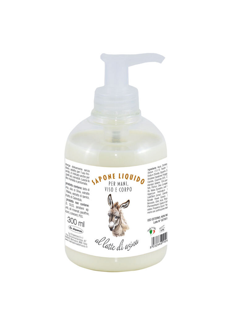 Sapun lichid hidratant pentru maini, fata si corp cu lapte de magarita, 300 ml